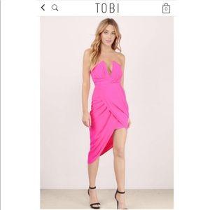 Tobi Hot Pink strapless bodycon dress